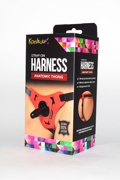 Трусики красный Kanikule Leather Strap-on Harness vac-u-lock Anatomic Thong